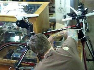 Working on Matt's bike